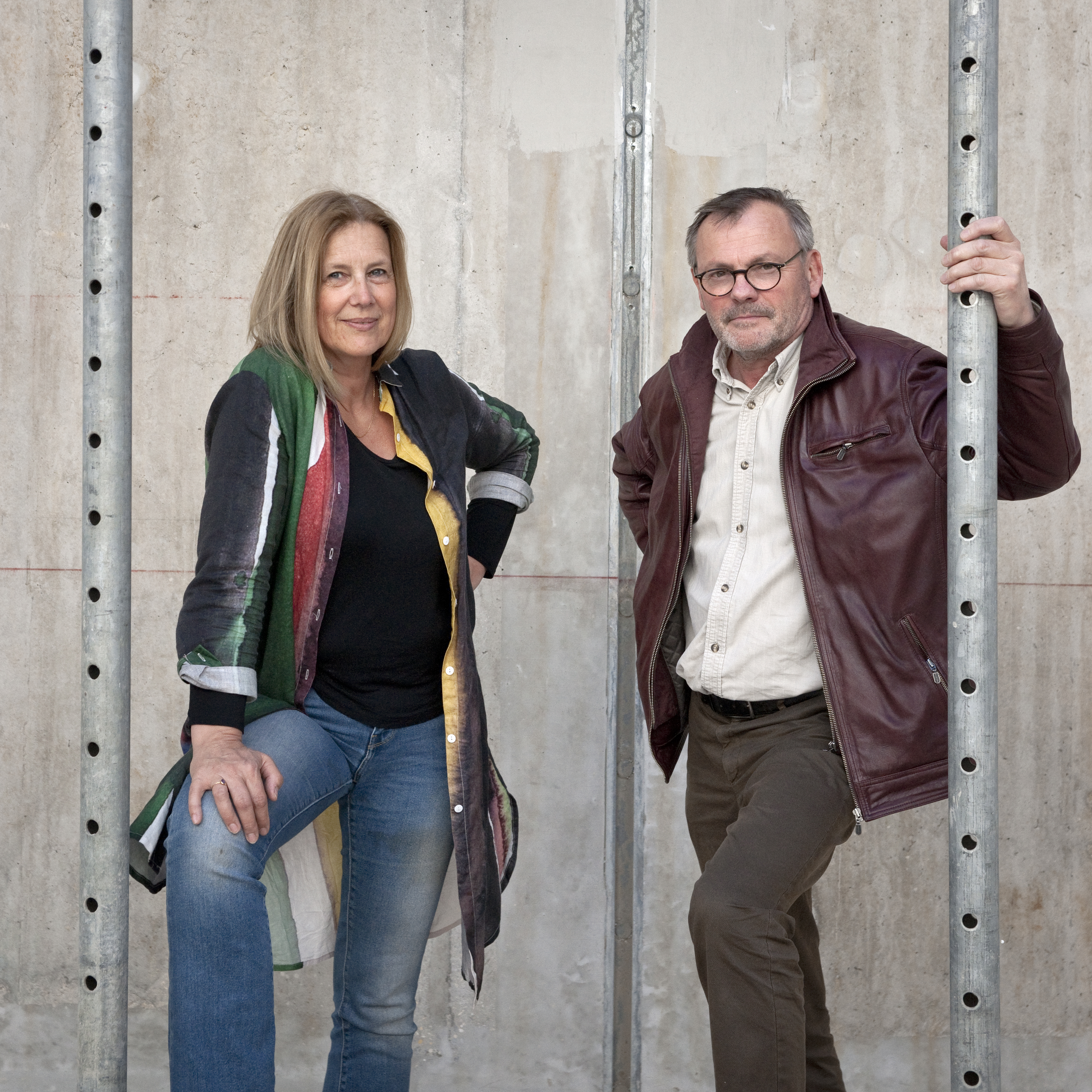 Portrait de Cathy Beauvallet et Dominique Delajot dans la future Maison de la Culture de Bourges en travaux